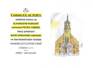 Slavnostní koncert opravené varhany Desná P. Tomeš 4.9.21